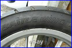 BMW F650GS (twin 800cc) rear wheel with good tyre, brake disc and ABS ring